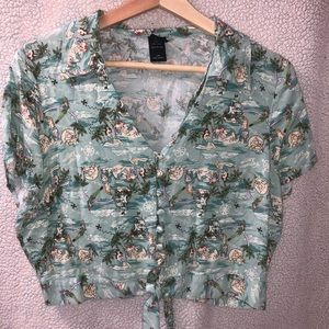 Peter Pan cropped button down top